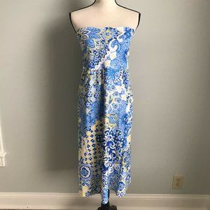 Jude Connally Blue Yellow Strapless Dress